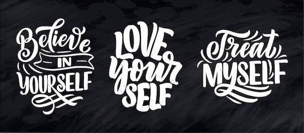 Set con citazioni scritte selfcare