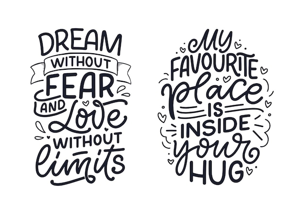 Set con slogan sull'amore in stile calligrafico.