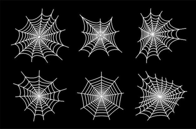 Set con icone di ragnatela. decorazione di halloween con ragnatela. vettore piatto ragnatela