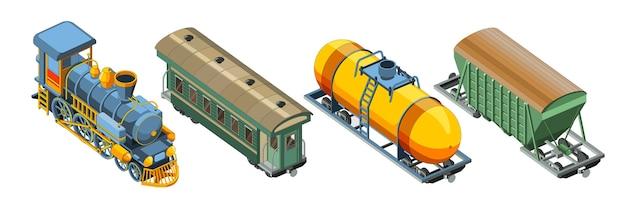 Set con locomotiva a vapore, carrozza ferroviaria passeggeri, vagone merci, carro armato. vettore grafico del treno retrò vintage.