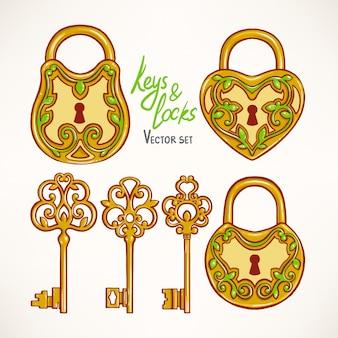 Set con tre bellissime chiavi retrò e serrature con motivo floreale