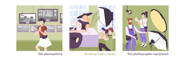 Set con tre foto quadrate scuola fotografia educazione illustrazione piatta