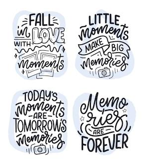 Set con citazioni di ispirazione di stile di vita di viaggio su bei ricordi, poster di lettere disegnate a mano.
