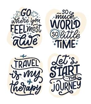 Set con citazioni di ispirazione di stile di vita di viaggio, poster di lettere disegnate a mano.
