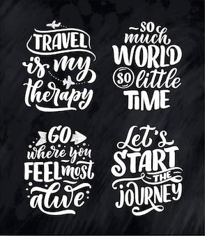 Set con citazioni di ispirazione di stile di vita di viaggio, poster di lettere disegnate a mano