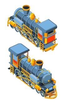 Set con due viste anteriore e posteriore di una locomotiva a vapore. grafica vettoriale vintage retrò treno blu. isolato su sfondo bianco.