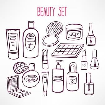 Set con una varietà di cosmetici e prodotti per la cura del corpo. illustrazione disegnata a mano