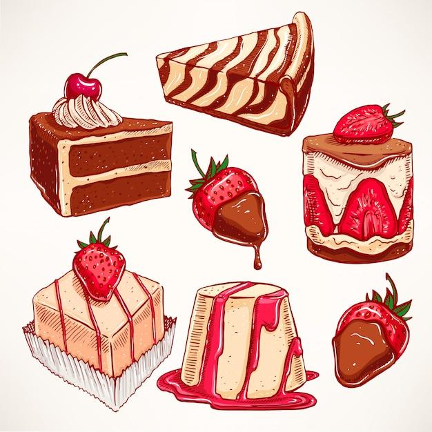 Impostato con una varietà di deliziosi dessert appetitosi. illustrazione disegnata a mano