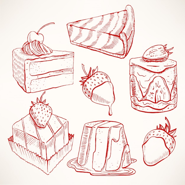 Impostato con una varietà di simpatici dessert di schizzo appetitosi. illustrazione disegnata a mano