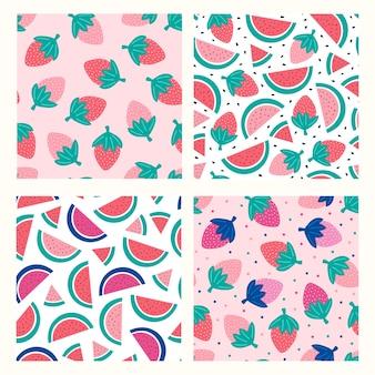 Set con anguria e fragola sul rosa.