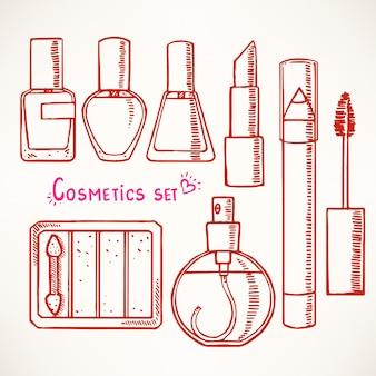 Set con cosmetici decorativi schizzo di donna. disegnato a mano.