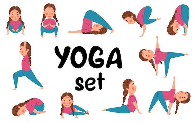 Un set con posizioni yoga. un bambino europeo è impegnato nello sport.