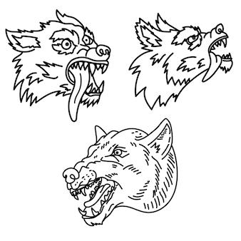 Set di illustrazione del lupo in stile linea. elemento di design per emblema, segno, poster, maglietta.