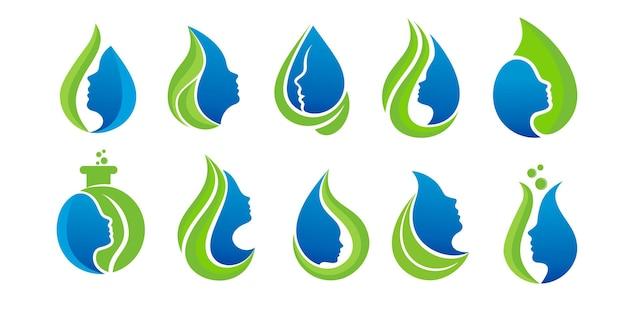 Set di design del logo della natura dell'olio di bellezza della donna con il viso della donna. vettore premium