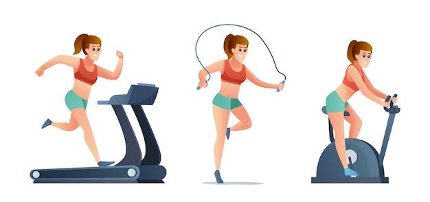 Set di donna che fa esercizio con la bici da palestra per saltare la corda e il tapis roulant