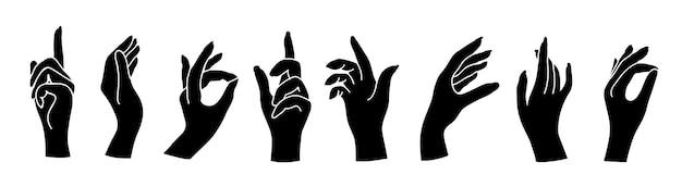 Insieme delle mani della donna in vari gesti isolati