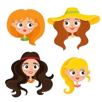 Set di ritratti di hippy donna con taglio di capelli bohemien in stile cartone animato isolato su bianco. ragazze degli anni sessanta di woodstock.