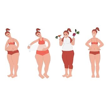 L'insieme della donna sta perdendo peso la donna è impegnata nel fitness mangiando cibo sano