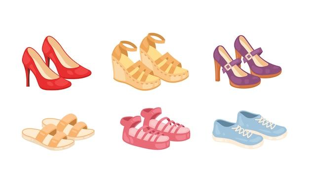 Set di icone di scarpe donna isolato su priorità bassa bianca. collezione di calzature di moda.