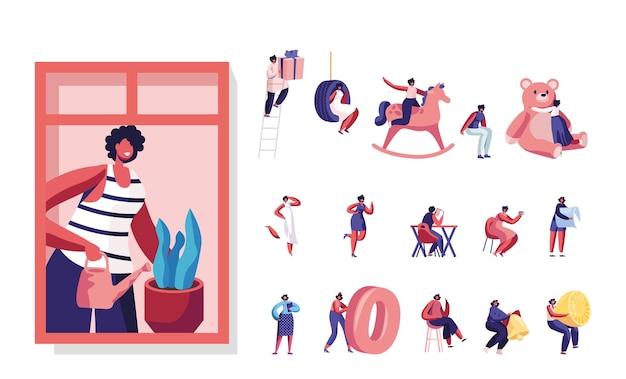 Insieme di stile di vita delle donne. giovani personaggi femminili che innaffiano le piante domestiche, giocano con i giocattoli, leggono libri e bevono caffè