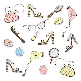 Set di accessori da donna, cosmetici. illustrazione.
