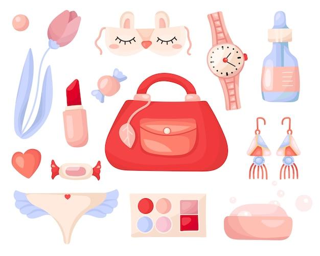 Set di cosmetici ed elementi di bellezza femminili.