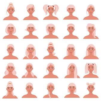 Set di acconciature da donna. belle ragazze bionde con diverse acconciature isolate su uno sfondo bianco.