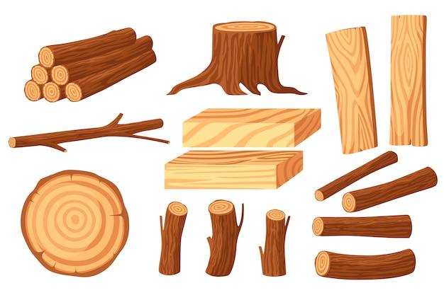Insieme dei ceppi di legno per industria del legname con il ceppo dei tronchi e l'illustrazione piana delle plance isolata su fondo bianco