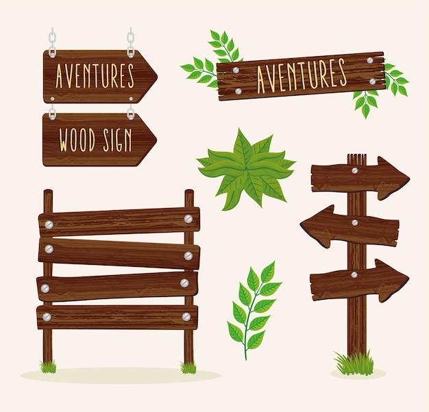 Set di segnali in legno