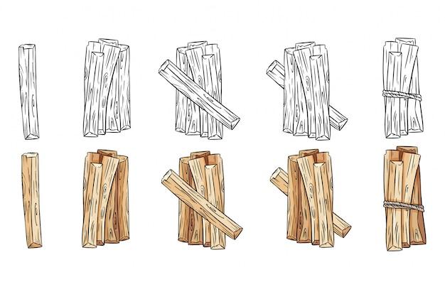Set di bastoncini di legno in bianco e nero e fasci colorati. collezione di bastoncini di aroma di palo santo dall'america latina. immagini isolate su sfondo bianco
