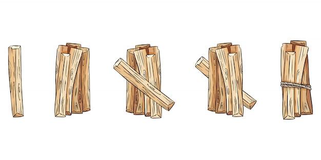 Set di fasci di bastoncini di legno. collezione di bastoncini di aroma di palo santo dall'america latina.