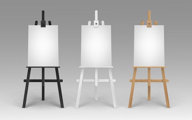 Set di cavalletti in legno marrone nero bianco terra di siena