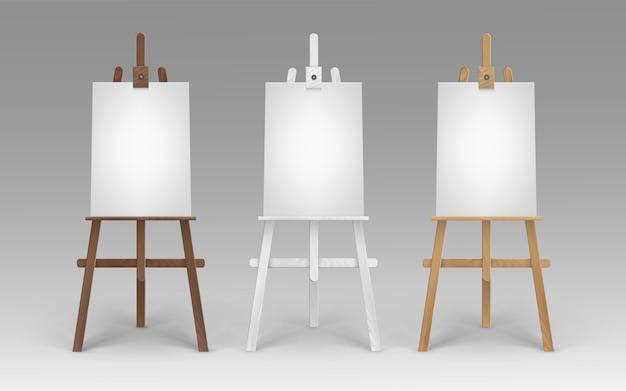 Set di cavalletti in legno marrone bianco terra di siena