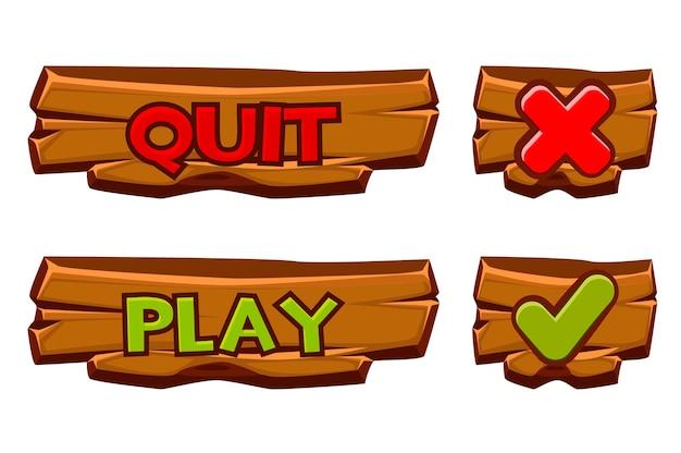 Set di bottoni in legno per giocare e uscire. segno di spunta icone isolato e croce per menu giochi.