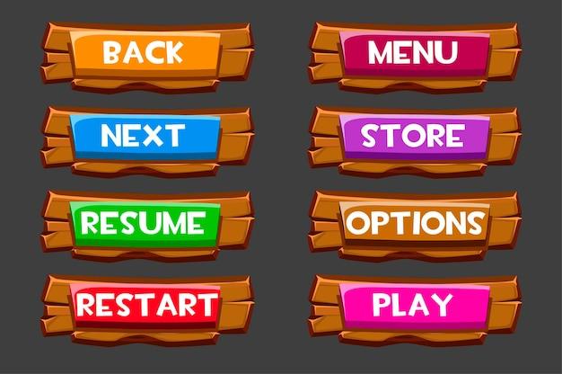 Set di bottoni in legno con iscrizioni per il gioco.