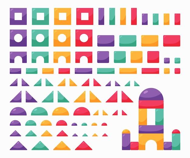 Impostare il giocattolo di cubi di colore in legno. elementi costitutivi per bambini costruttore di bambini.