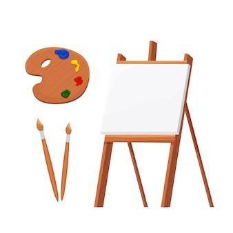 Imposta carta bianca vuota da cavalletto in legno con tavolozza e pennelli in stile cartone animato