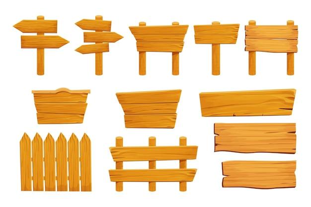 Impostare elementi in legno recinzione assi di compensato banner cartello vuoto strutturato in stile cartone animato