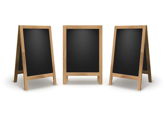 Set di pubblicità vuota vuota in legno