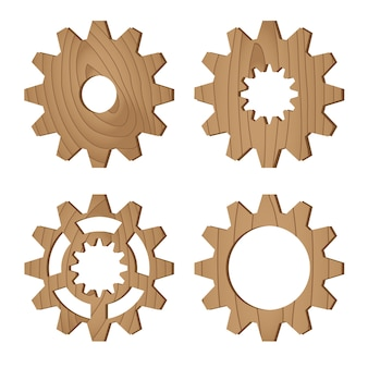 Set di ruote dentate in legno su bianco, illustrazione vettoriale