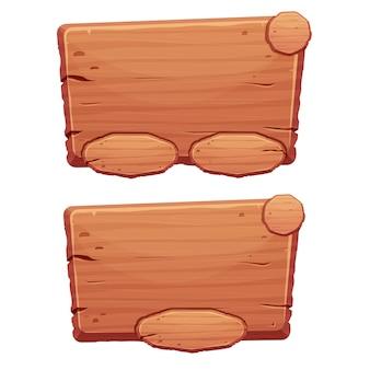 Set di risorse di gioco dell'interfaccia utente del pulsante menu in legno in stile cartone animato isolato su sfondo bianco
