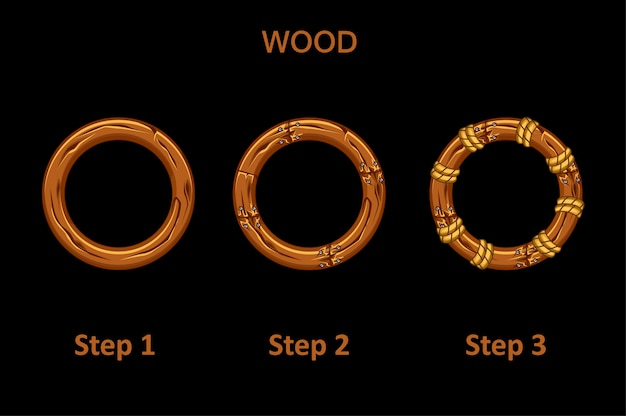 Set di cornice rotonda in legno