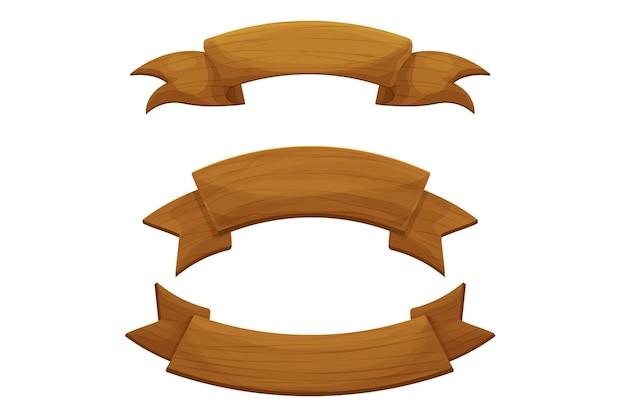 Impostare il nastro banner rustico in legno in stile cartone animato isolato su bianco