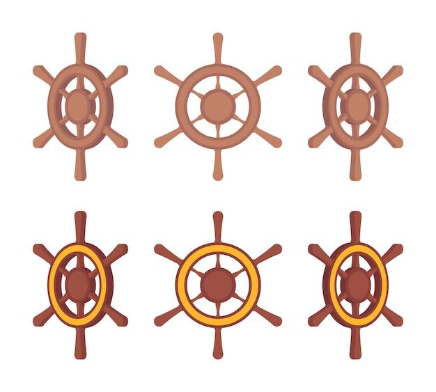Serie di volanti di navi in legno su diversi lati