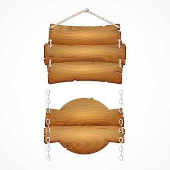 Set di cartelli in legno con corda. segni della plancia di legno del fumetto.