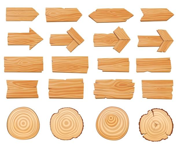 Set di cartelli in legno, puntatori, frecce, tavole, tavoli. illustrazione vettoriale
