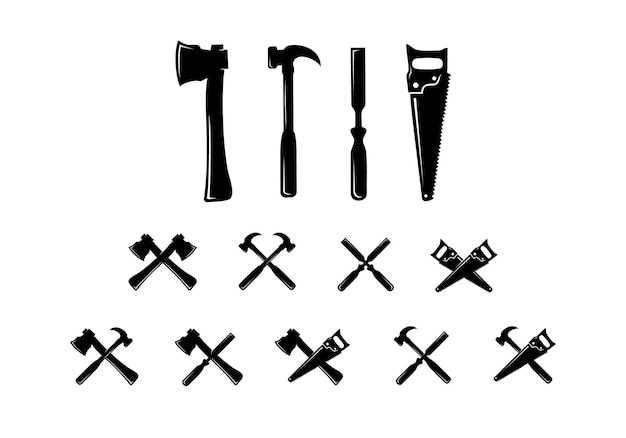 Set di raccolta di icone di strumenti per la lavorazione del legno, strumenti di falegnameria