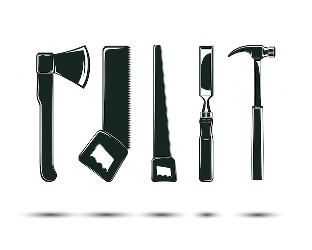 Set di strumenti per la lavorazione del legno, segheria e carpenteria e elementi di boscaiolo per il design del logo vintage, icone monocromatiche,