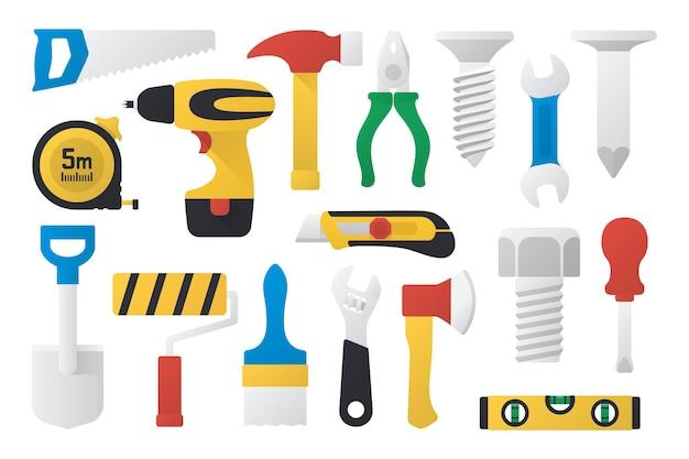 Set di strumenti di lavoro in design piatto illustrazione vettoriale set di strumenti di lavoro