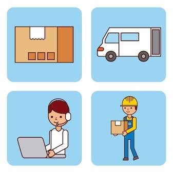 Set di scatola di cartone logistico consegna camion lavoratore